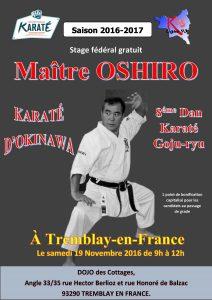 Stage fédéral gratuit à Tremblay-en-France : Samedi 19 Novembre 2016